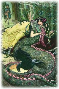 MARINA LAY UPON A COUCH AND FONDLED A FIERY DRAGON WITH HER RIGHT HAND from the story THE STORY OF NIKITICH AND MARINA in The Russian Story Book