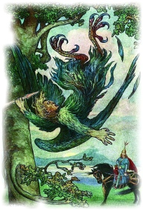 NIGHTINGALE THE ROBBER FELL FROM THE TREE from the story ILYA AND NIGHTINGALE THE ROBBER in the book The Russian Story Book