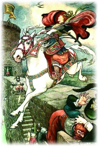 SHE PUT HER GOOD STEED TO THE WALLS AND LEAPT LIGHTLY OVER THEM from the story HOW STAVR THE NOBLE WAS SAVED BY A WOMAN'S WILES in The Russian Story Book