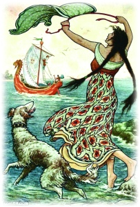 THE BLACK-BROWED MAID STOOD UPON THE BANK AS THE RED SHIP SAILED AWAY FROM NOVGOROD from the story VASILY THE TURBULENT in The Russian Story Book