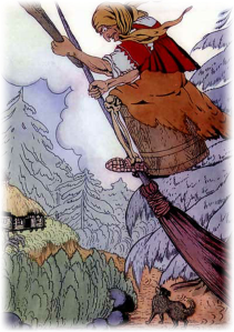 There she was beating with the pestle and sweeping with the besom - BABA YAGA AND THE LITTLE GIRL WITH THE KIND HEART PNG